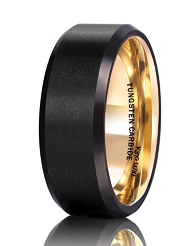 1d66a87bf2a King Will 8mm Black Tungsten Carbide Ring Matte Finish Wedding Band with  18K Gold Plated Inner
